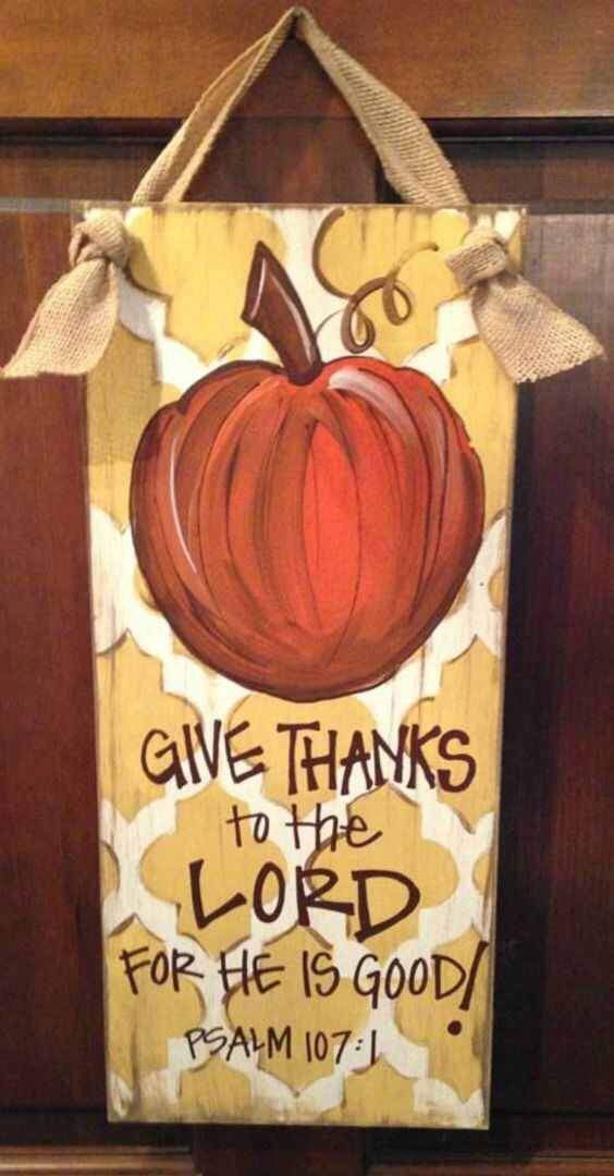 Give Thanks Pumpkin Patch fall thanksgiving decor wooden wall hanging sign