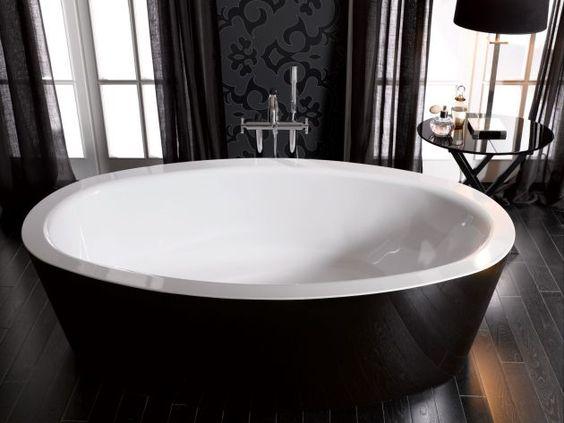 Bicolor Schwarz Freistehende Badewanne von Bette