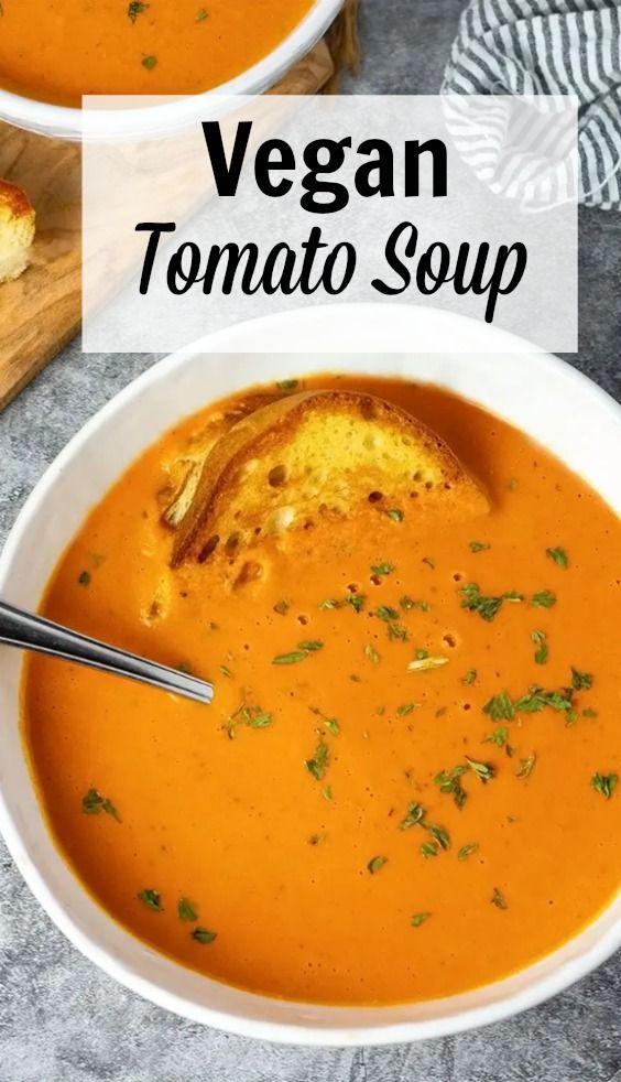 Vegan Tomato Soup In 2020 Vegan Tomato Soup Vegan Soup Recipes Easy Soup Recipes
