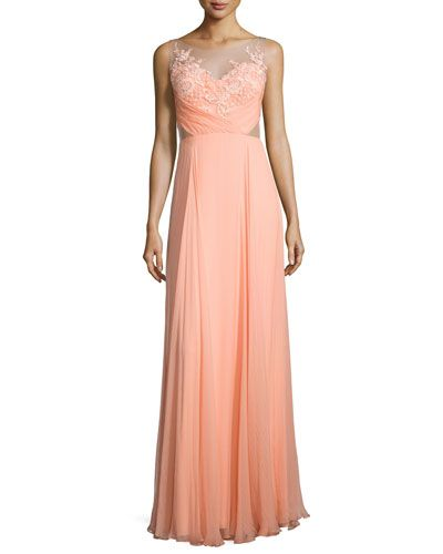 TB9FB Marchesa Notte Sleeveless Floral Applique Flowy Gown