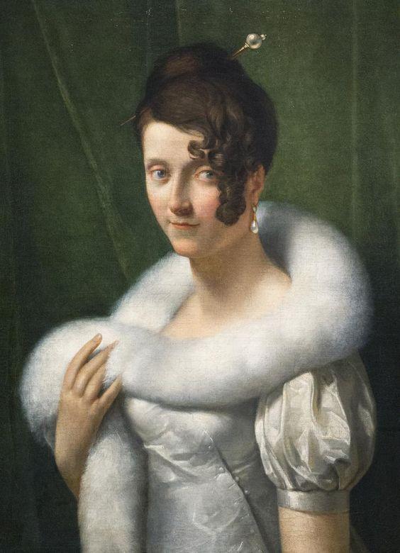 """François Gérard (Rome, 1770 - Paris, 1837) """"Portrait de jeune femme au boa"""" dét. (c. 1810):"""