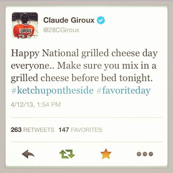 Happy national grilled cheese day!  XOXO, Giroux