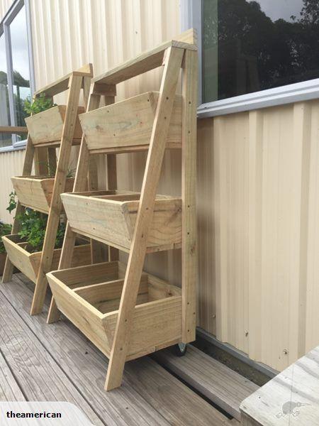 Wooden 3 tier planter box