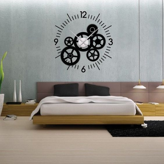 sticker mural horloge g ante mecanisme squelette avec. Black Bedroom Furniture Sets. Home Design Ideas