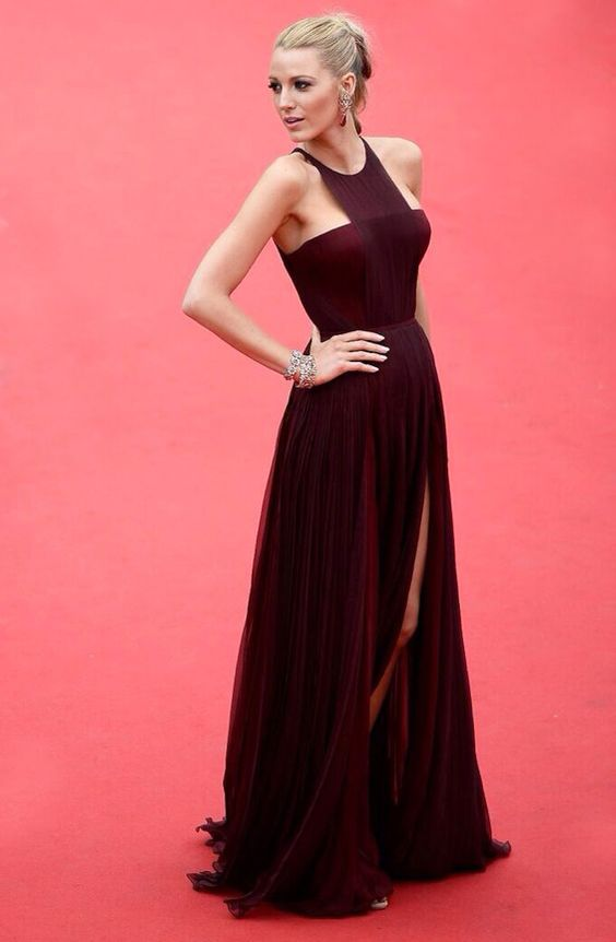 Blake Lively best dressed in braid hairstyle and Gucci pleated front slit burgundy gown #Cannes2014 Film Festival #Canne2014