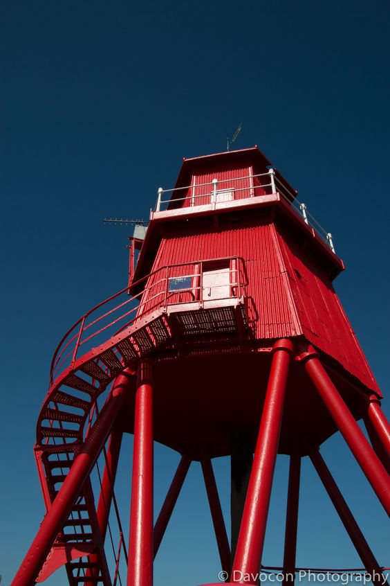 The Groyne Lighthouse, South Shields. The station was established and the tower was built in 1882