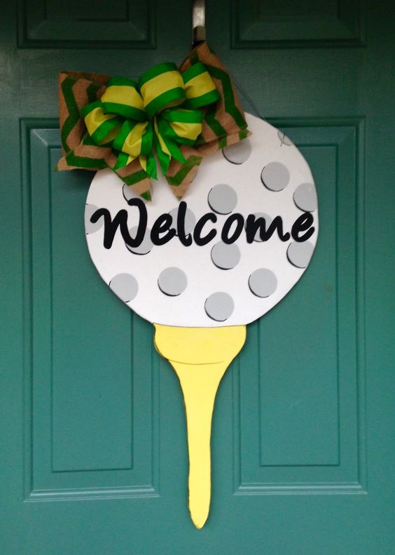 Wooden Golf Door Hanger with burlap and green/yellow ribbon bow by MyBelovedReclaimed on Etsy https://www.etsy.com/listing/225874051/wooden-golf-door-hanger-with-burlap-and