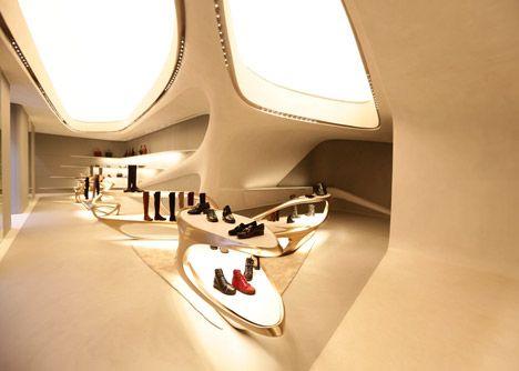 Futuristic Architecture, Stuart Weitzman shoe boutique by Zaha Hadid