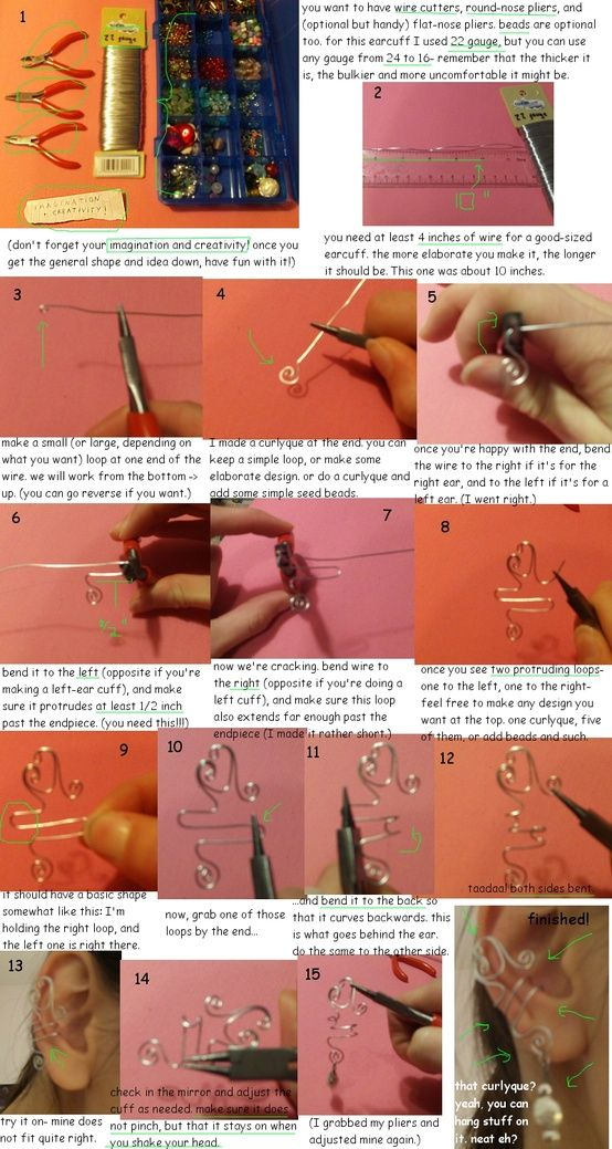 Ear Cuff DIY instructions - Different ears need different lengths for the loop that goes around the cartilage at the middle of the ear.