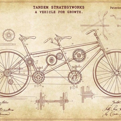 Create A Vintage Steampunk Tandem Bicycle Patent Drawing