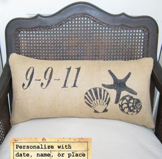 Beach Memories Burlap Pillow  Personalize with by nextdoortoheaven, $40.00