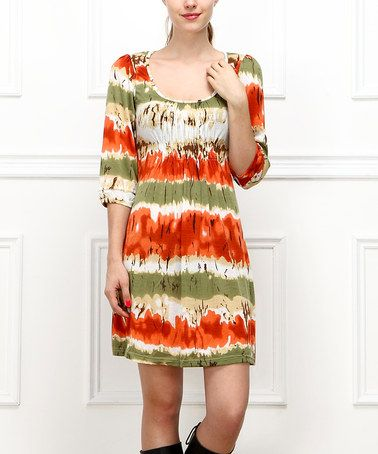 Another great find on #zulily! Orange & Green Shirred Scoop Neck Dress - Women #zulilyfinds