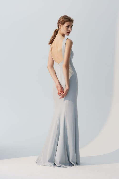 Joelle High Neck Crepe Bridesmaids Long Dress With Dramatic Low