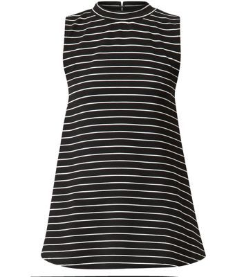 """Parisian. Bring this stripe print high neck sleeveless top into an evening wardrobe but pairing with coated leggings and ankle strap heels.- All over stripe print- High neck- Sleeveless design- Casual fit- Model is 5'8""""/176cm and wears UK 10/EU 38/US 6"""