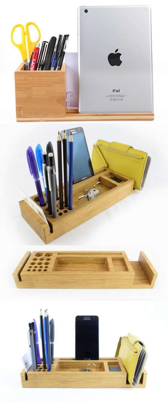 Pen Pencil holder Wooden Rustic stand storage stationery pencil organiser