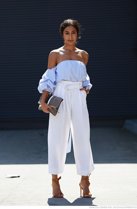 off shoulder with white pants
