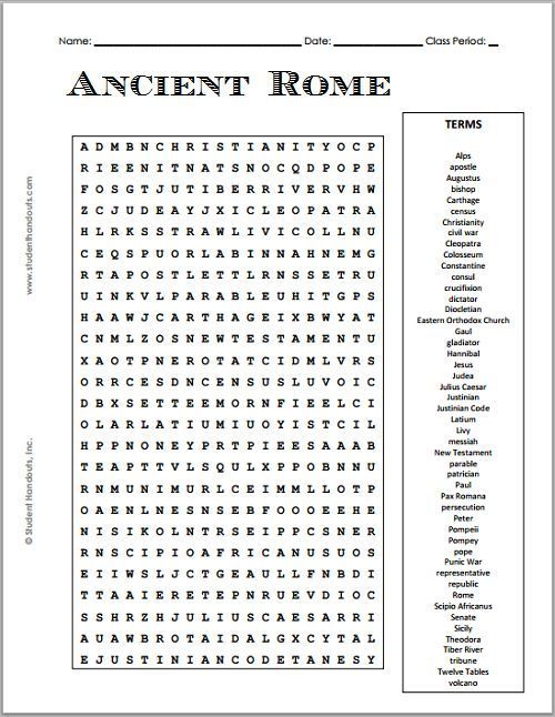 photograph relating to 6th Grade Word Search Printable named Cost-free Printable Historical Rome Phrase Seem Puzzle Grades 7-12