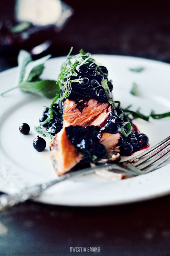 Salmon with cayenne, blackcurrant and mint