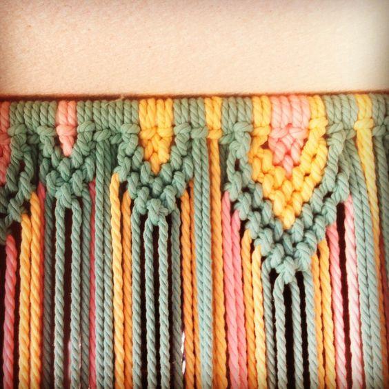 Cortina para las moscas de macram con cuerda de colores - Colores de cortinas ...