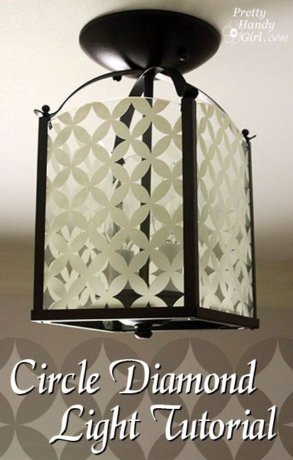 Circle Diamond Patterned Light Fixture: Diamond Pattern, Foyer Light, Light Fixture, Glass Paint