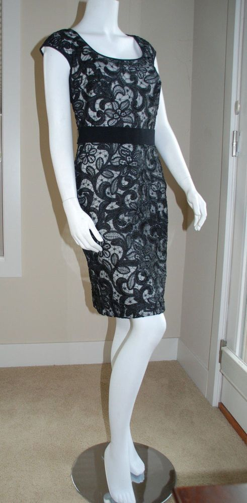 TADASHI SHOJI LBD Black Sheath Cocktail Dress Lace-overlay Cap Sleeve Size 10 #TadashiShoji #Sheath #Cocktail