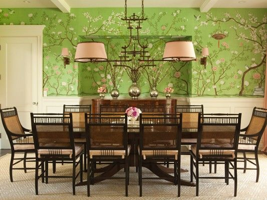 Beautiful printed wallpaper reminds me of dogwood in a for Light green dining room