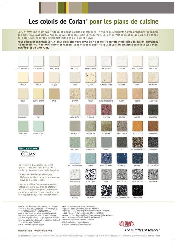 couleurs corian plans travail cuisine salle bains cuisine pinterest cuisine. Black Bedroom Furniture Sets. Home Design Ideas