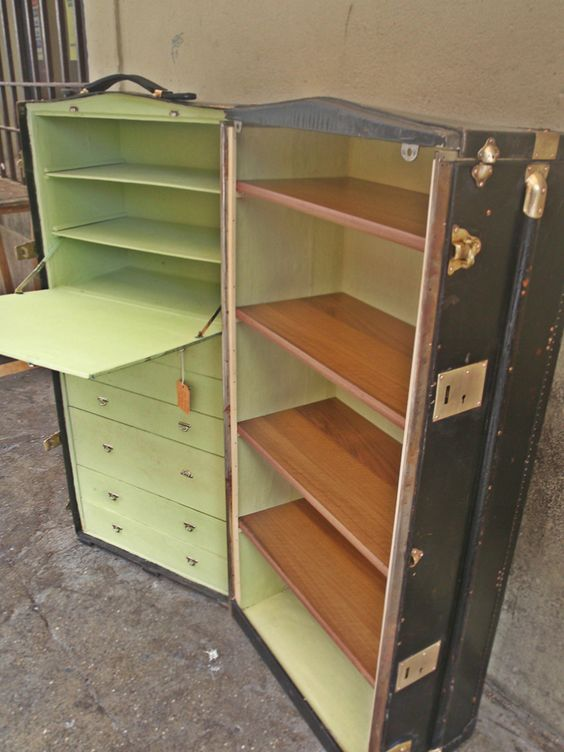Trunk Turned Desk Travel Shelves Fold Out Desk Drawers