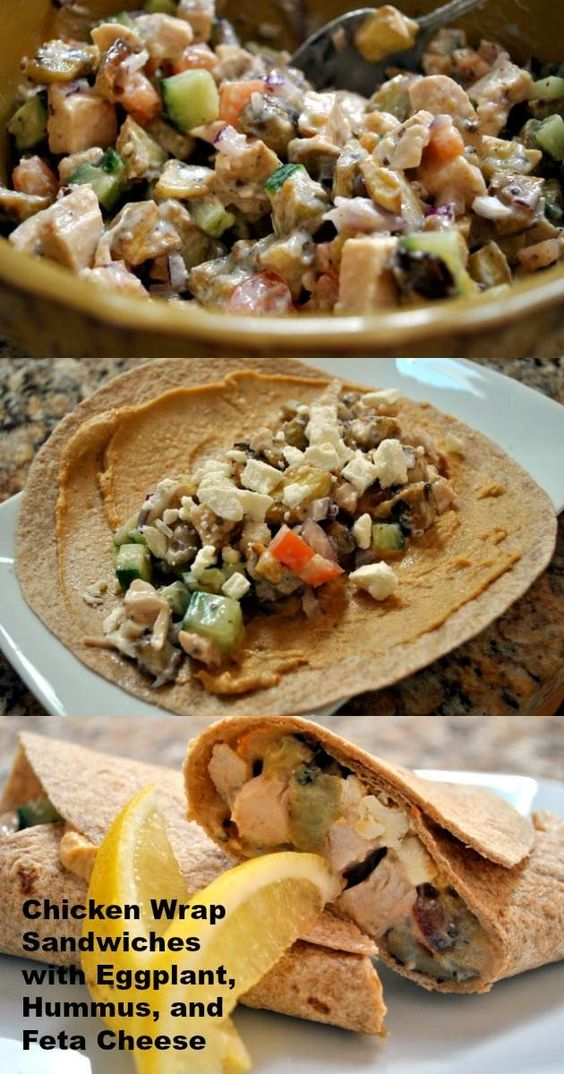Make a healthier chicken wrap with eggplant, spicy hummus, and tart feta cheese.