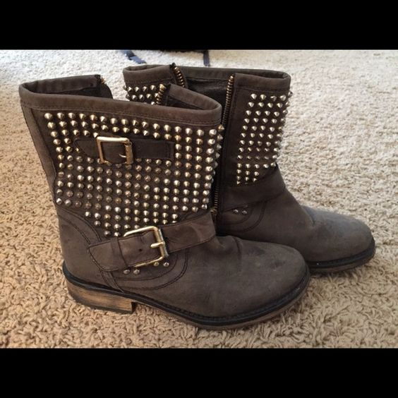 Steve Madden studded booties Have a couple of spots on the front of the boots but are in really great condition. Only worn a couple of times! Steve Madden Shoes Ankle Boots & Booties