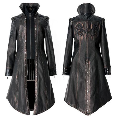 Metallic Rust Black Leather Cyber Goth Jacket Coat Windbreaker Men ...