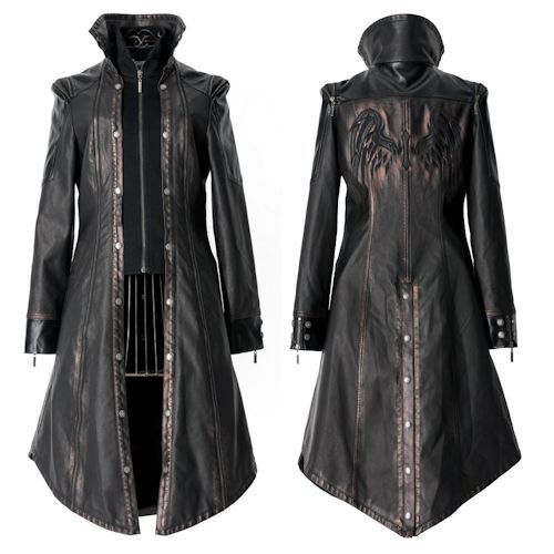 Metallic Rust Black Faux Leather Goth Fashion Trench Coats for Men
