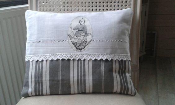 Coussin Style Gustavien Toile Matelas Et Drap Ancien Blanc Toile