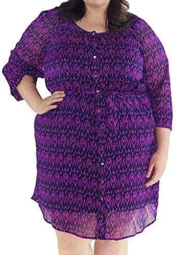 Stylzoo Women's Plus Size Layered Button Down Printed Dress Purple and Black X Stylzoo http://www.amazon.com/dp/B00UESINBG/ref=cm_sw_r_pi_dp_LT5dvb1CEFFGD