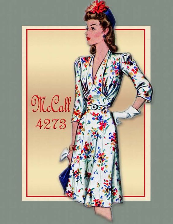 Vintage McCall Pattern #4273-Great looking 1940s dress. Form fitting through the bodice but enough flare in the skirt to accommodate dancing to WWII swing music.