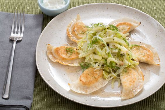 Crispy Ricotta Pierogi with Warm Apple-Cabbage Salad & Browned Butter by Blue Apron