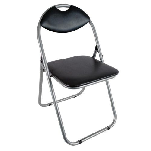 Folding Office Chair Black Faux