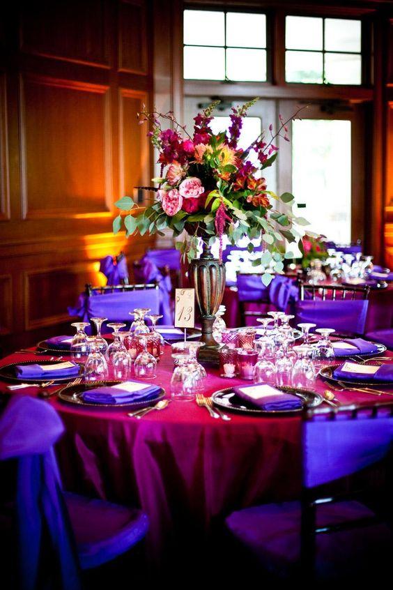 Decor Centerpieces Purple Hot Pink Purple Chair Sashes Hot Pink Tablecloth Purple Napkins Floral