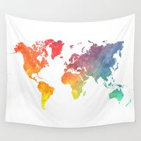 Wall Tapestries featuring Map of the world colored by jbjart