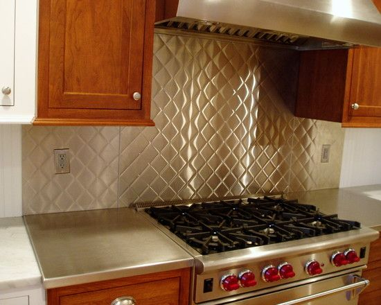 stainless steel backsplash with quilted pattern