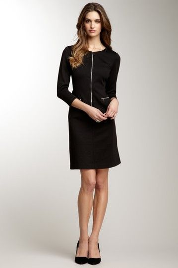 Black dress zipper front 3 4