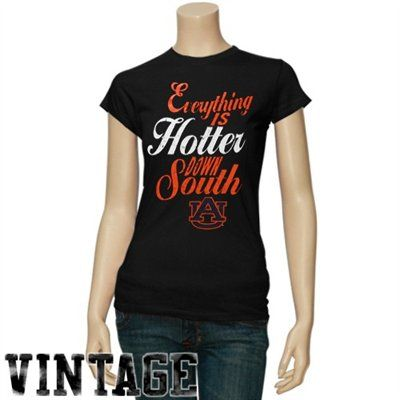 Auburn Tigers Ladies Black Hotter Down South T-shirt