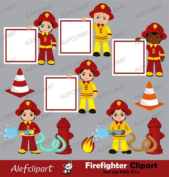 Firefighter Digital Clipart Fireman Boys Clip Art Fire Etsy In 2021 School Photo Booth Ideas Digital Clip Art Fireman