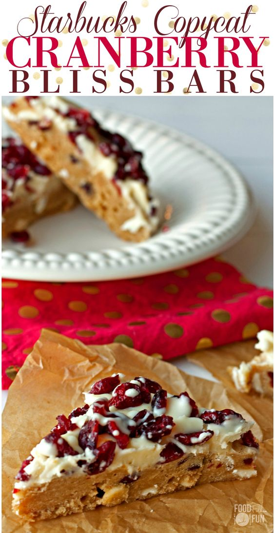 These Cranberry Bliss Bars are a Starbucks Copycat Recipe! They're quick and easy to make and taste just like Starbucks!