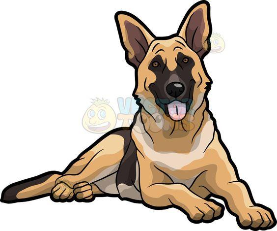 A Pretty German Shepherd Dog Animal Drawings Cartoon Drawings German Shepherd Dogs