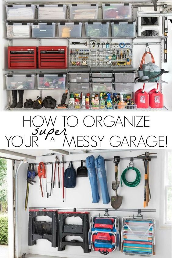 How to organize your super messy garage - step by step tips and how-to! #garage #garageorganization #garagestorage #garages #garagestorageideas #organizing #organizationideas #elfa #organizedhome #organizingclutter
