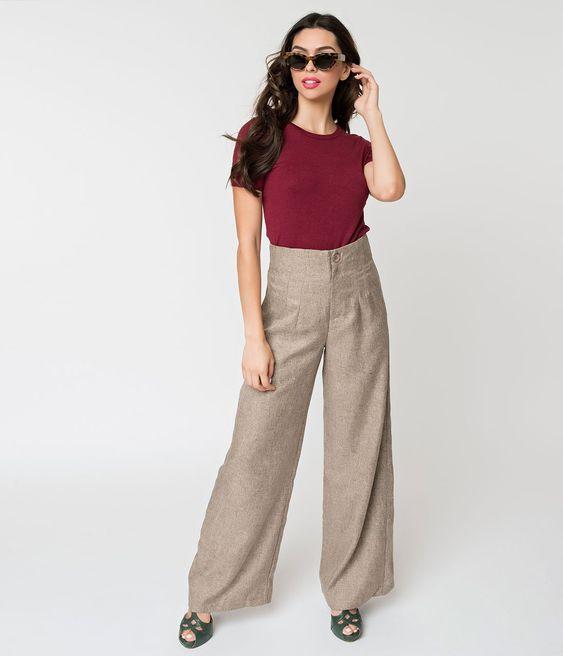 Retro Style Oatmeal Tan High Waist Wide Leg Pants – Unique Vintage