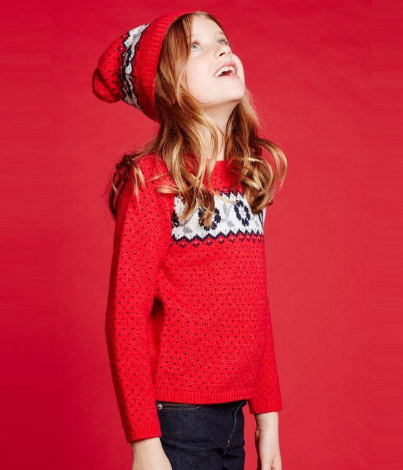 Pull jacquard fille rouge Froufrou / blanc Multico. Retrouvez notre gamme de…