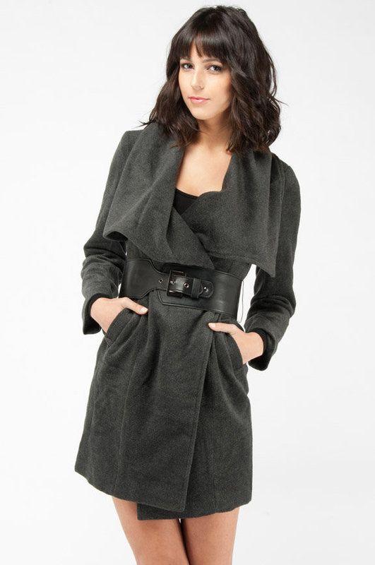 Wool Wrap Coat in Charcoal :: tobi.com     Love this coat
