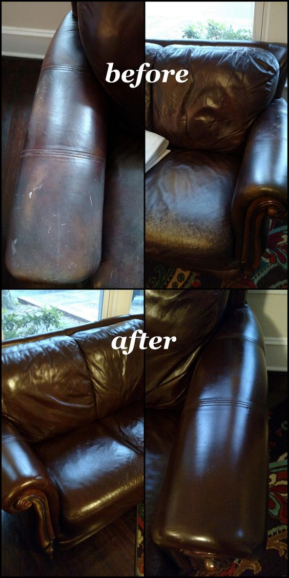 Mark bought this loveseat secondhand for $150. He mixed a 50-50 blend of Cherrywood and Black to create his own mahogany colored Rub 'n Restore leather dye. The dye did an excellent job concealing the lines and discoloration on the cushions and scuffs and minor cat claw damage on the arms. A final topcoat of Clear Prep+Finish deepens the color by adding shine and mimics the leather's original finish.